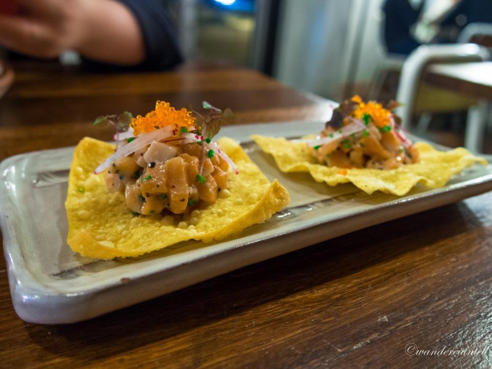 Salmon Wontons - King Salmon Tartare, Wasabi Mayo, Tobiko, Red Shiso